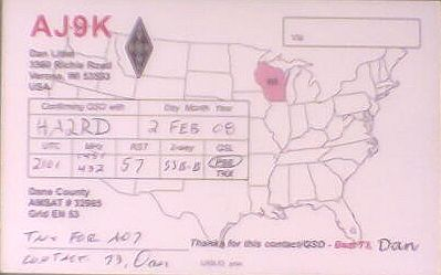 QSL-card of AJ9K confirming a distance record of 7725 km
