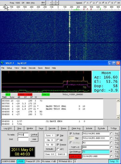 HA2RG in EME QSO with TK5JJ