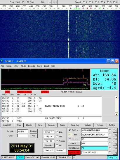 HA2RG in EME QSO with YL2HA