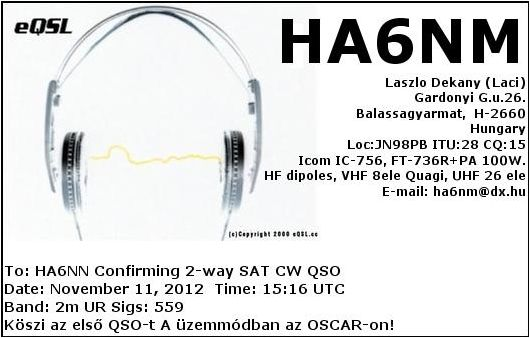 1st QSO on AO-7 Mode A CW