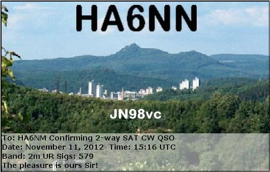 HA6NN to HA6NM for the 1st AO7 Mode A CW QSO