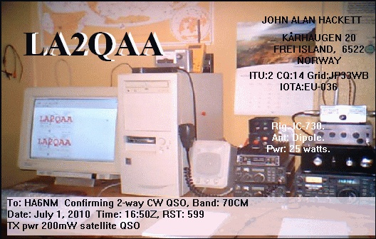 LA2QAA got through HO-68 using 200 mW only!