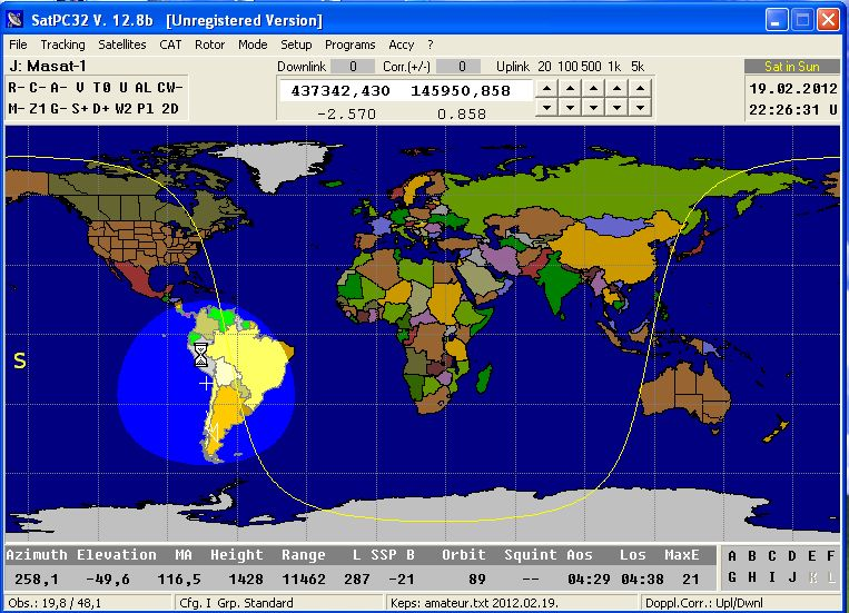 Masat-1 over South Amerika at 22:25 UT