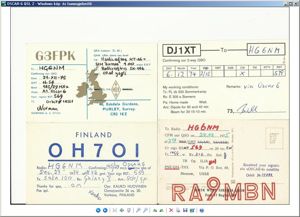 OSCAR 6 QSLs to HA6NM