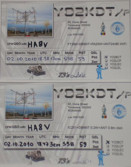 HA8MV's SHF QSOs with YO2KDT