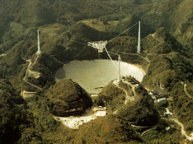1000-foot radio telscope in Arecibo Puerto Rico