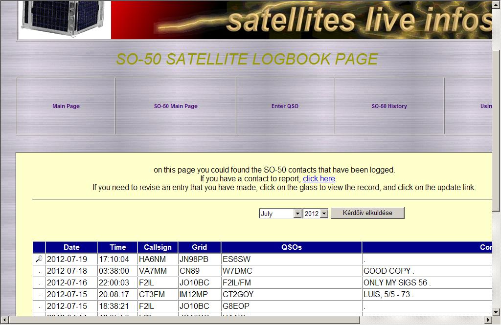 Satellite Activity Webpage in France
